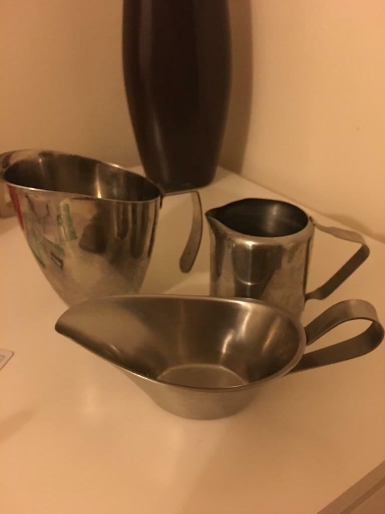 Set of stainless steel jar, milk pot and sauce pen