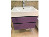 Bathroom sink, taps, wall mounted vanity unit and Villeroy & Boch wall hung toilet