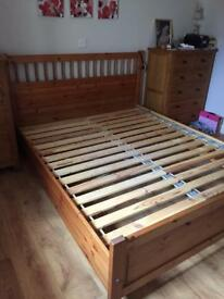 Ikea king size pine bed