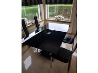 Modern Glass Dining Table with 4 Chairs