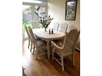 Shabby Chic French Style Dining Table & 6 Chairs