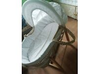 Girls moses basket with hood and stand £10