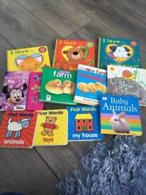 Collection of baby books.