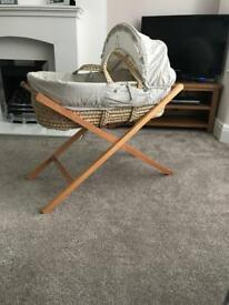 Mamas & Papas wicker Moses basket & wooden stand