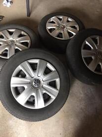 Steel wheels x 4 with hub caps VW