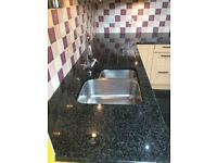 3 Black Granite Worktops - immaculate condition (cutaways for sink and hob)