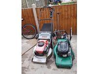 x2 self driven petrol lawnmowers