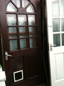 Exterior hardwood door with crazed squares and cat flap