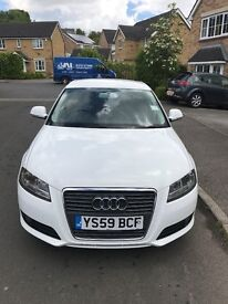 AUDI A3 SPORTS BACK 2010 1.6 TDI WHITE ROAD TAX £20