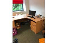 Beech office desk 1600 x 1600