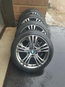 LIKE NEW BMW 3 SERIES ULTRA HIGH PERFORMANCEBIDGESTONE BLIZZAK  225 / 45 / 18 WINTER TIRES ON AFTERMARKET ALLOY WHEELS