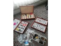 3 full wooden boxes flies for fishing, wet and dry,