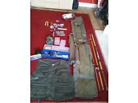 Assorted fishing tackle with rod, holdall and jacket