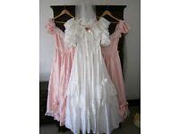 wedding dress and 2 bridesmaid