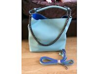Ladies light turquoise handbag with chain detail brand new