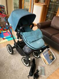 Buffalo Pram/Stroller in Petrol Blue