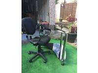 Glass office table and chair