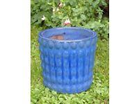 Unusual Raised Dot Pattern Blue Ceramic Garden Planter Ceramic Garden Pot