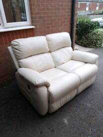 Cream leather 2 seater electric recliner sofa