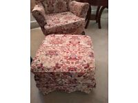 Sofa and 2 armchairs, footstool