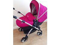 Silver cross wayfarer pram & car seat - Raspberry - like new, 11 months old