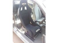 sparco rev bucket seat with seat rail and genuine spaco seat mount