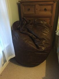 GIANT brown faux leather bean bag brown