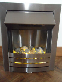 Adam Electric Fire, Brushed stainless steel heater with pebbles - Pokesdown BH5 2AB