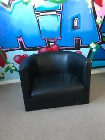 Small black faux leather chair for kids