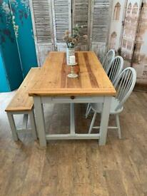 Farmhouse solid pine refectory dining table with bench and three chairs