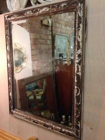 VINTAGE SHABBY CHIC CARVED WOODEN DISTRESSED CREAM PAINTED MIRROR
