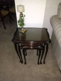 Mahogany Glassed Topped Nest of Tables