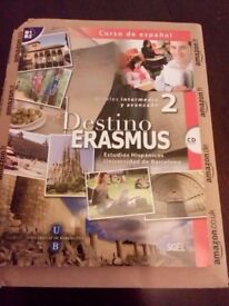 Spanish text book, brand new. Never opened or read. Destino Erasmus 2 + CD