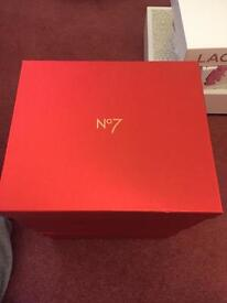 3 metallic red no7 storage boxes