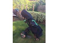 Hill Billy Compac Plus golf trolley and Hill Billy golf bag