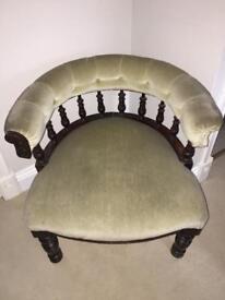Khaki green velvet chair