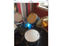 Full size Annon Drum kit with stool, in need of some TLC. £50