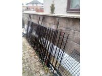 railings.garden railing sections 1m high and total of approx 8metres long with scolls on them.