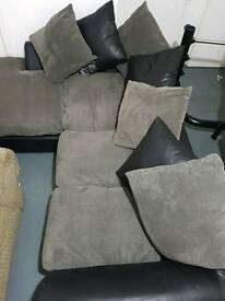 Half leather corner sofa