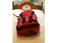 Large North Face Base Camp Dufffel Bag in Red