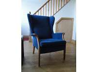Blue Parker Knoll suite - 2 x two seater settees and 1 armchair