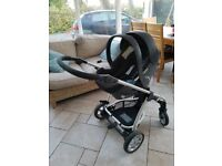 Mamas and Papas Sola Pushchair with Car Seat, Rain Cover, Parasol and Foot Muff. £200 o.n.o