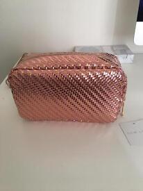 Pink and Gold Metallic Pencil case/ make up bag