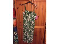 Next brand new size 10 tropical 3/4 jumpsuit