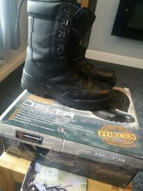 Highlander Outdoor Delta Military Style Black Walking Hiking Work Boots size 7