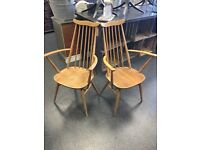 ERCOL CARVER CHAIRS X2 blonde colour wood.