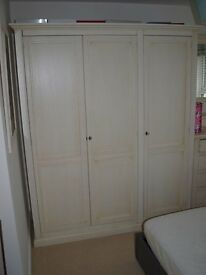 White Wooden Triple Wardrobe.