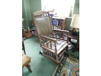 Rocking glider chair. Oak. Leather.