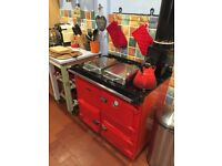 Rayburn Nouvelle gas Cooker and boiler, red, excellent condition, external flue, stored outside