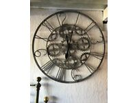 Silver coggs giant wall clock